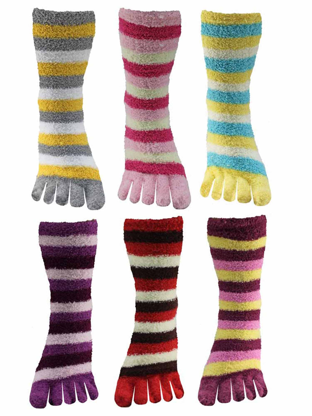 Assorted Multicolor Striped Fuzzy Toe Socks 6 Pack