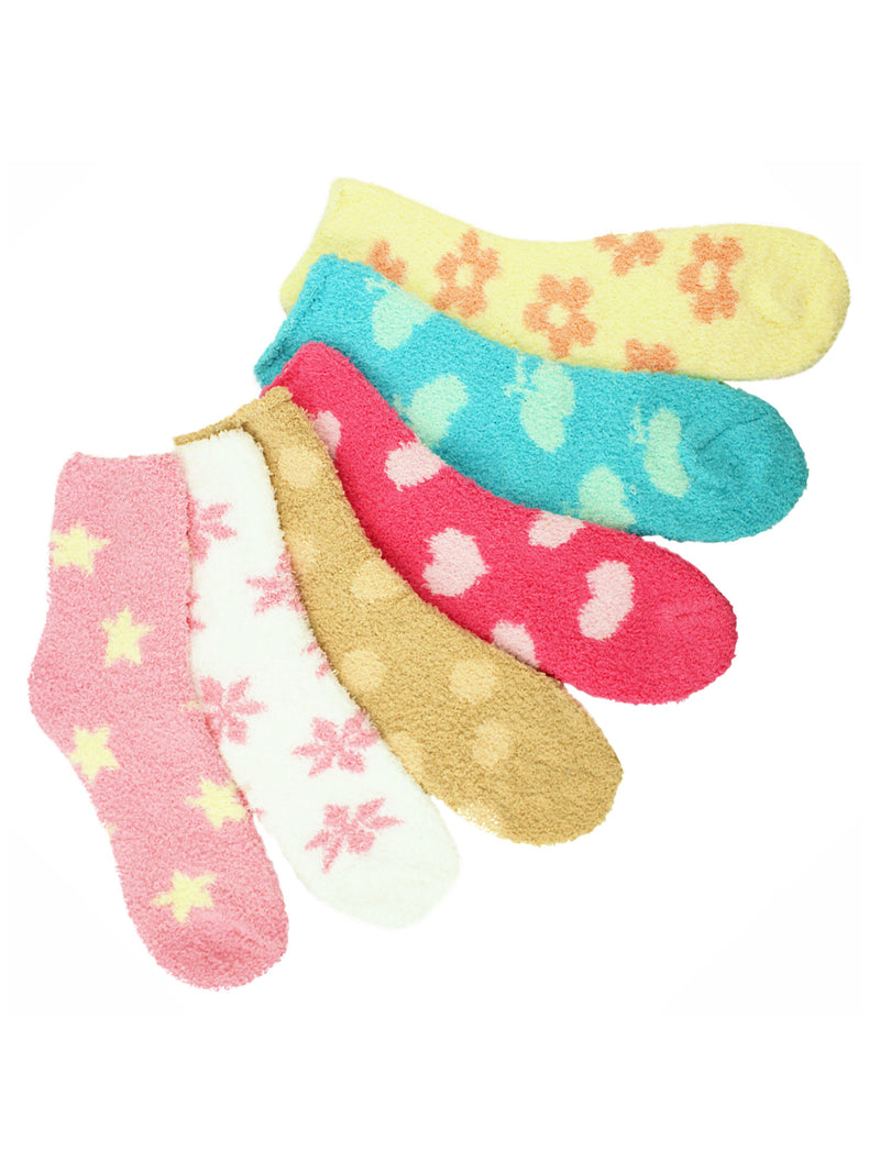 Colorful Multi Pattern 6 Pack Assorted Fuzzy Socks