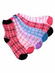 Soft 6 Pack Assorted Plaid Fuzzy Crew Socks