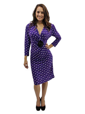 Long Sleeve Polka Dot Dress With Rosette