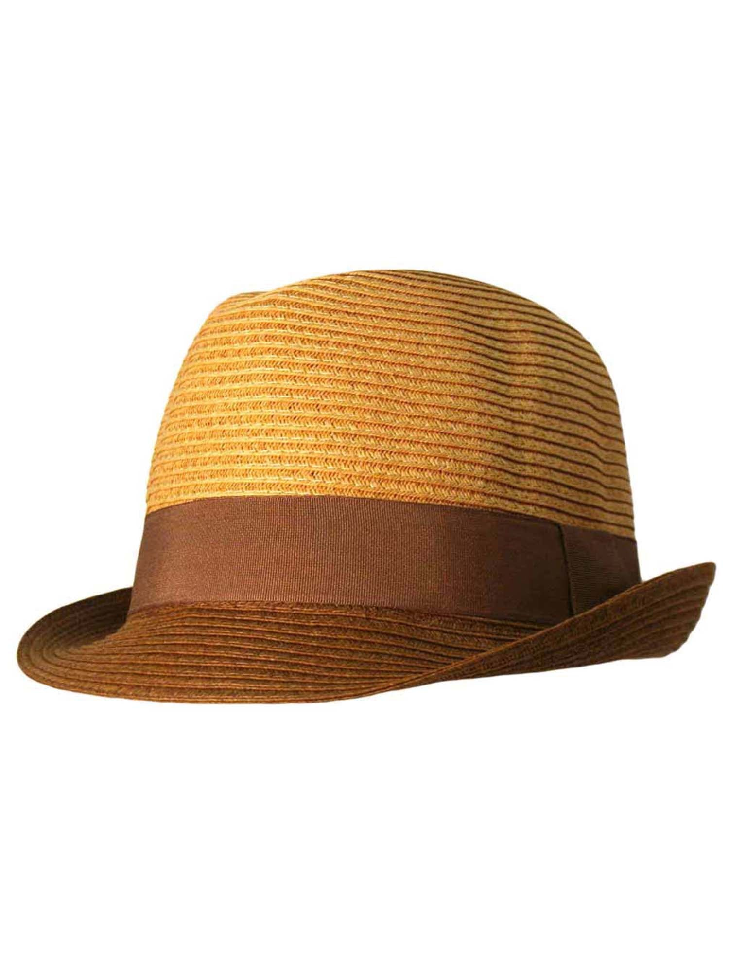 Two-Tone Straw Fedora Hat