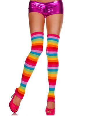 Rainbow Striped Long Thigh High Dance Leg Warmers For Women