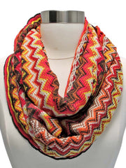 Hot Pink Multicolor Zigzag Circle Scarf