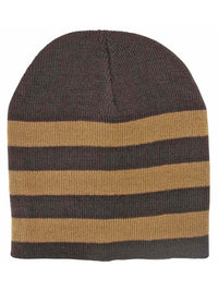 Tight Fitting Striped Knit Beanie Cap