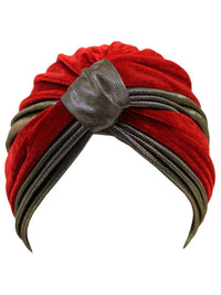 Two-Tone Velour Fashion Turban Head Wrap