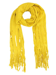 Long Fringy Diamond Pattern Knit Scarf