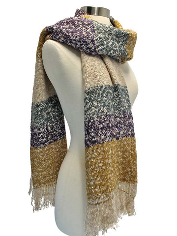 Mustard Tan Purple Color Block Oversize Winter Knit Blanket Scarf
