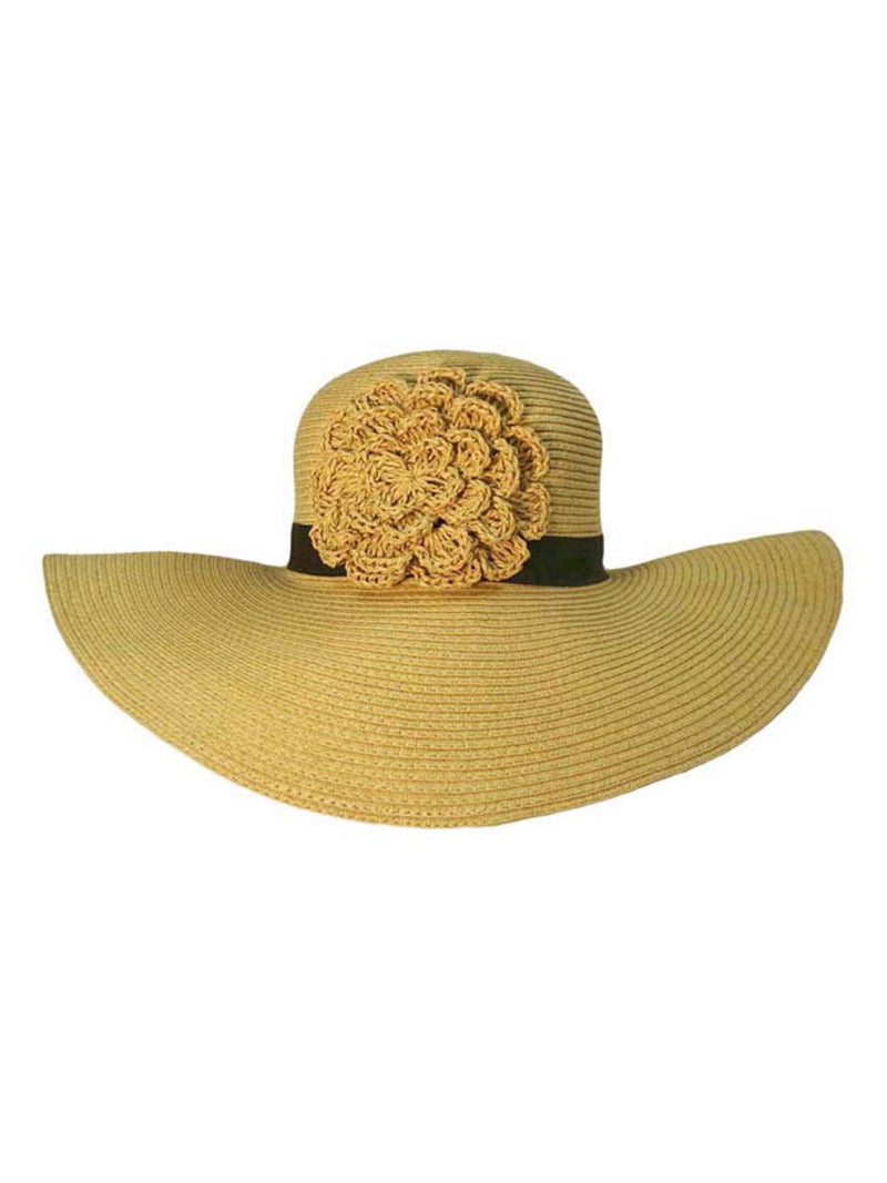 Floppy Sun Hat With Crochet Flower