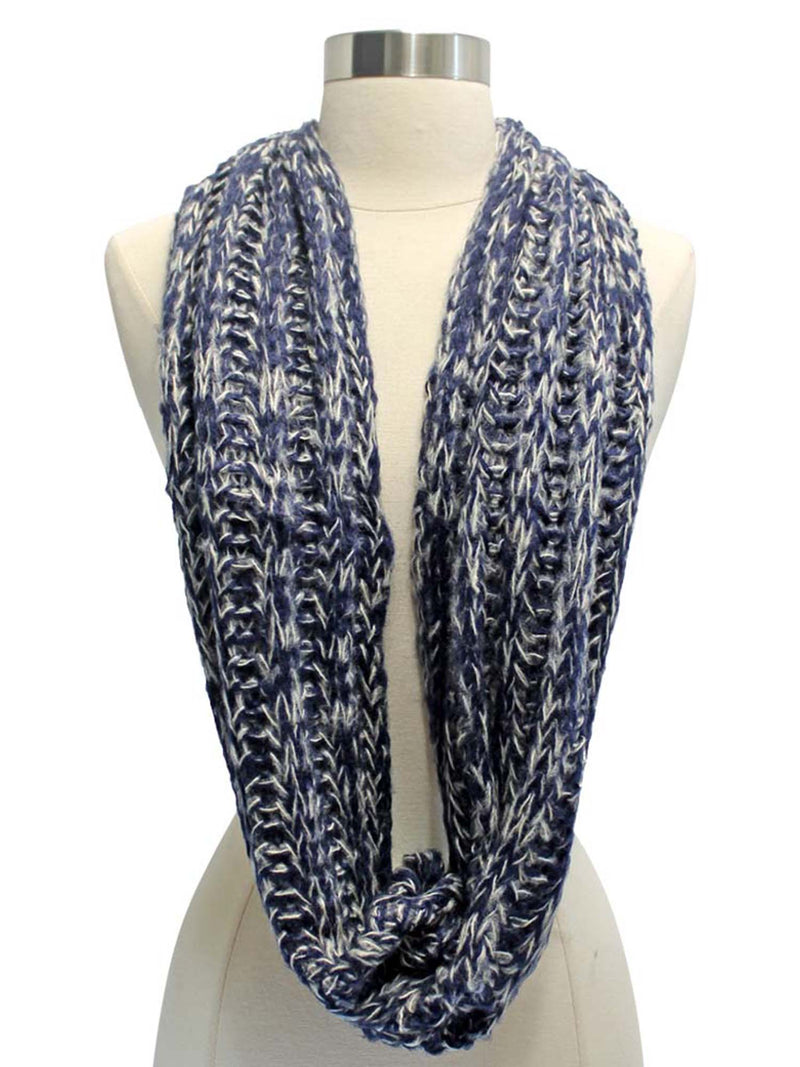 Two-Tone Knit Soft Infinity Scarf