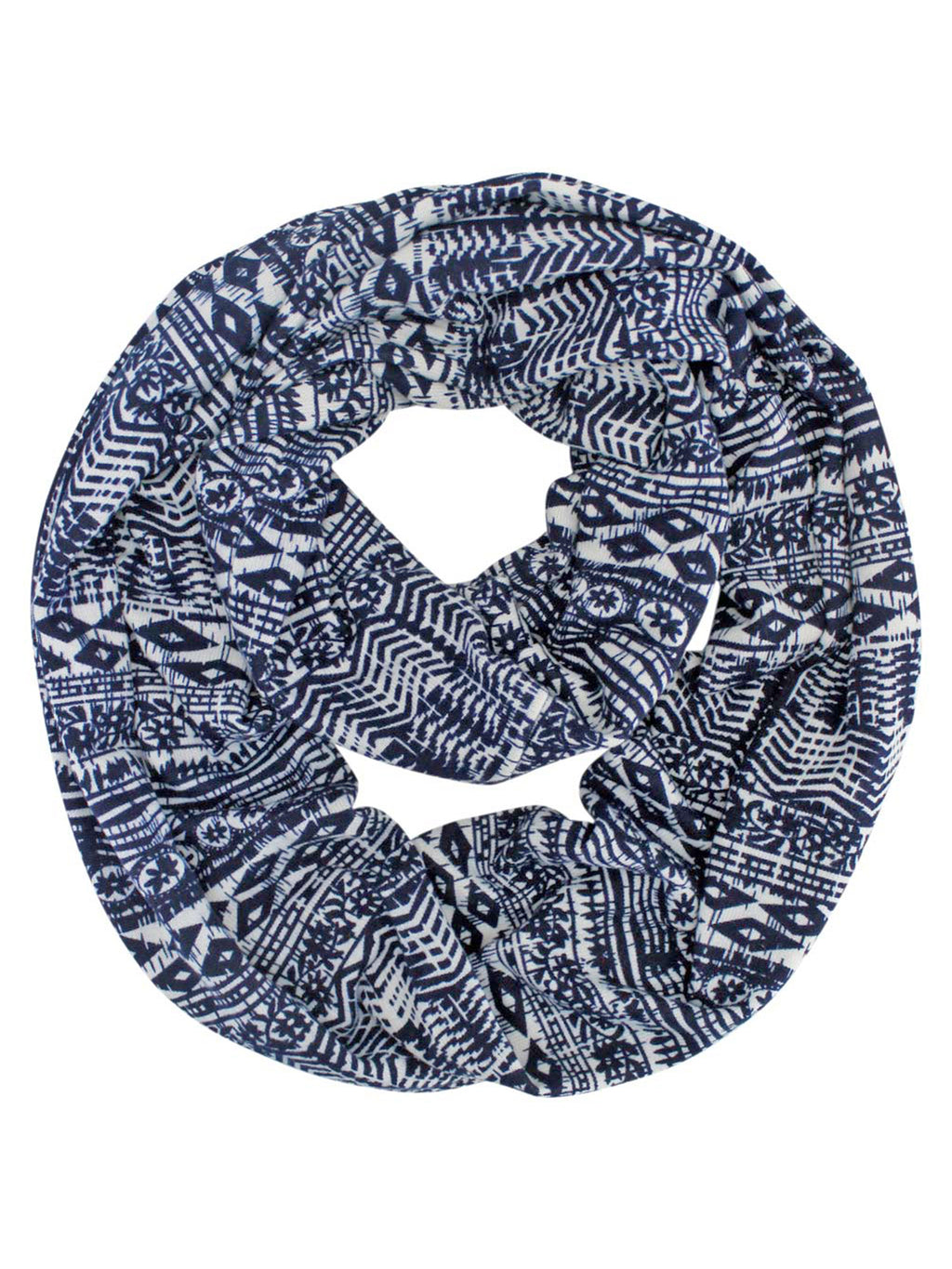 Navy & White Native Aztec Print Lightweight Circle Infinity Scarf