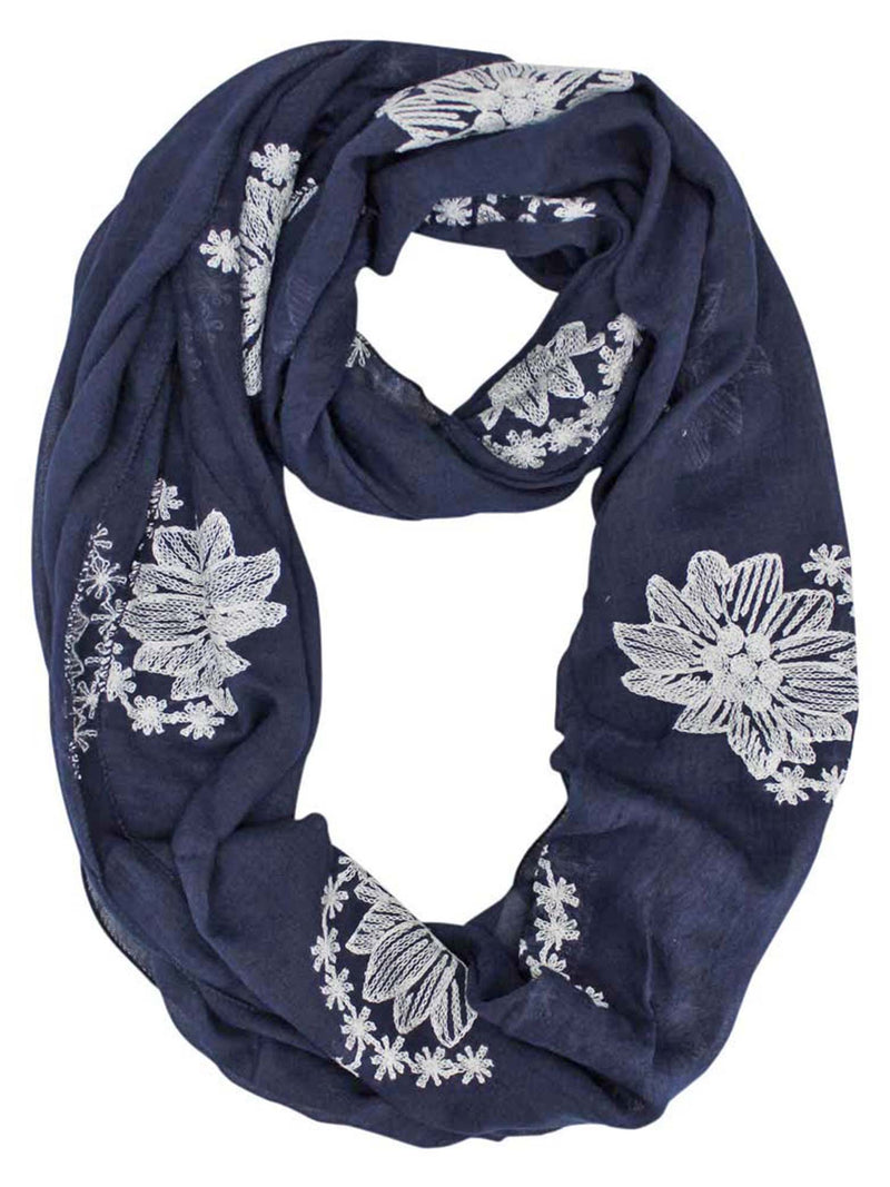 Silky Lightweight Circle Scarf With Floral Embroidery