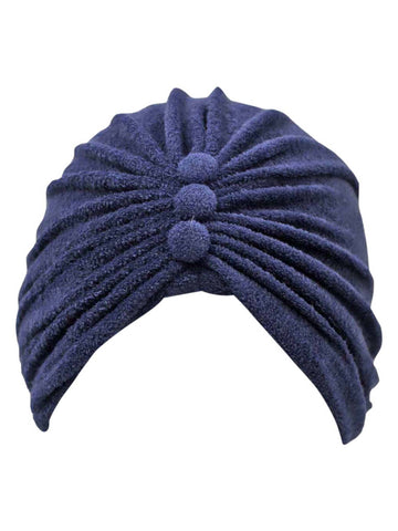 Terry Cloth Turban Head Wrap With Button Detail