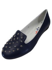 Genuine Leather Loafers With Silver Star Studs