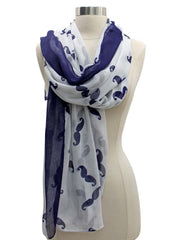 Navy & White Sheer Mustache Print Scarf