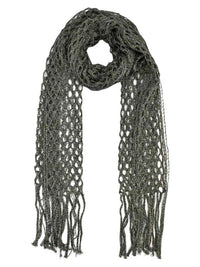 Metallic Long Mesh Fringed Shawl