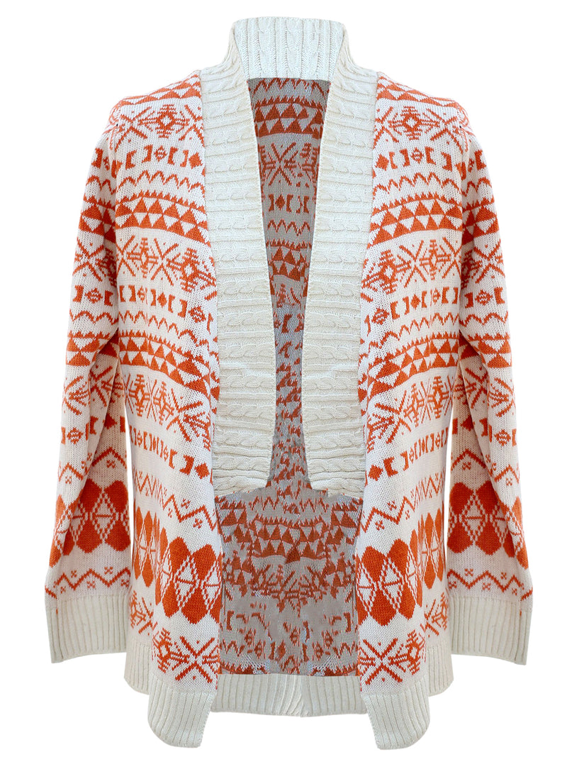 Aztec Print Long Cardigan Sweater