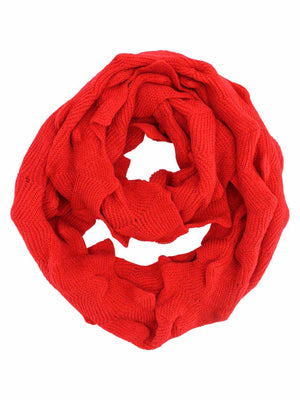 Zigzag Knit Circle Loop Infinity Scarf