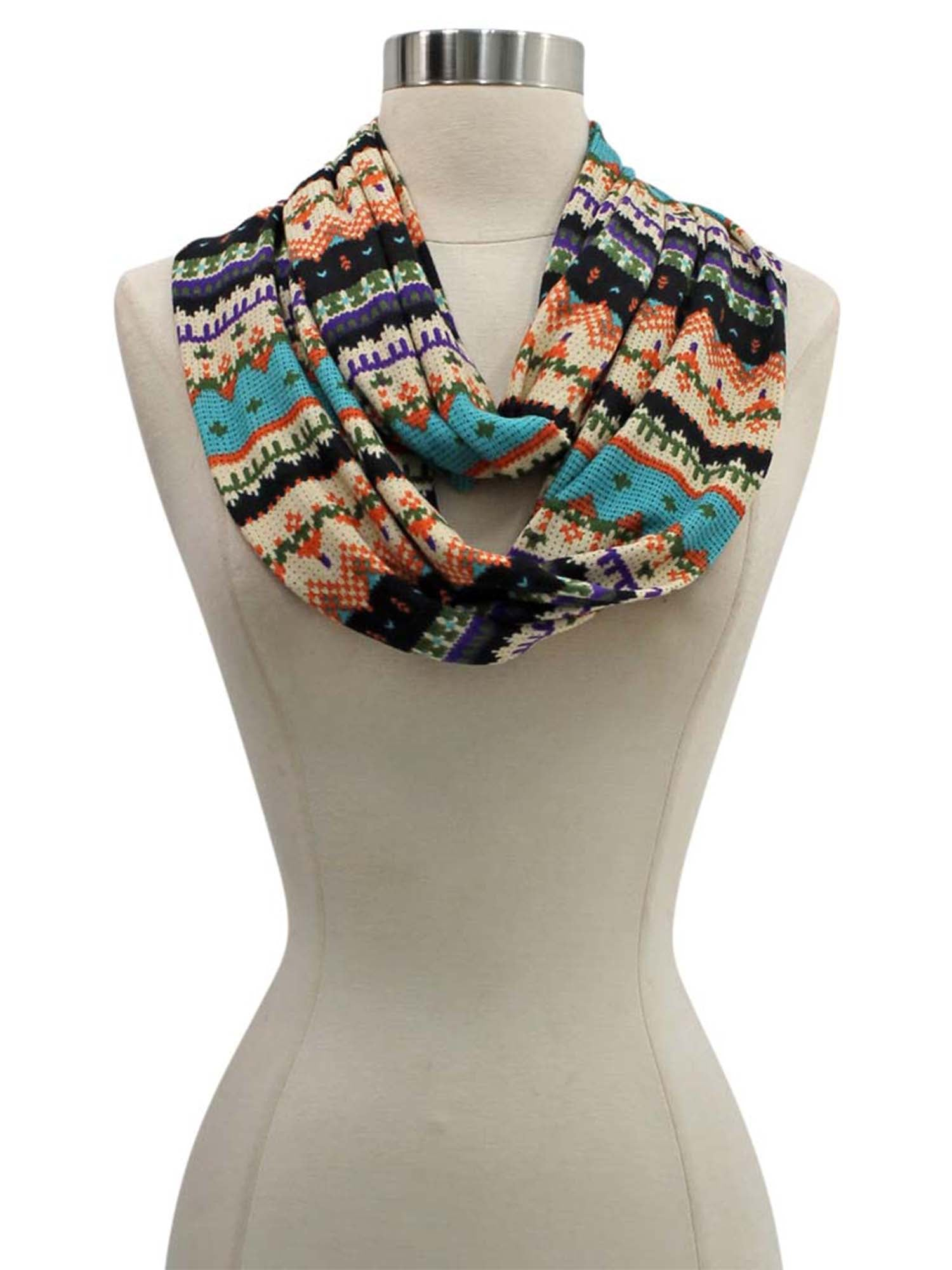 Orange Multicolor Winter Holiday Pattern Circle Infinity Scarf