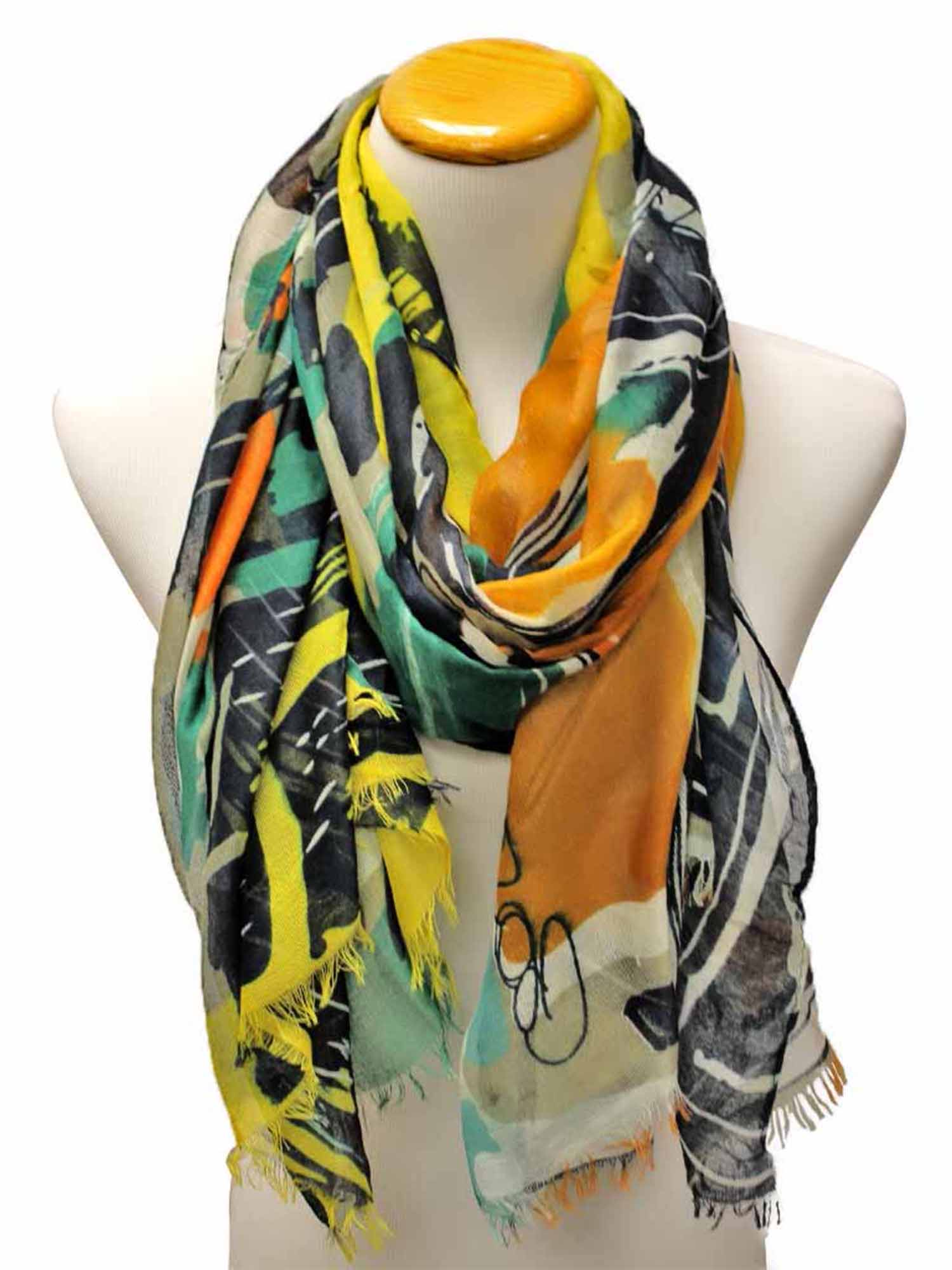 Orange Colorful Art Deco Print Long Scarf