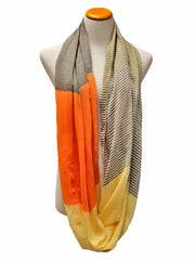 Orange & Beige Neutral Tone Light Infinity Scarf