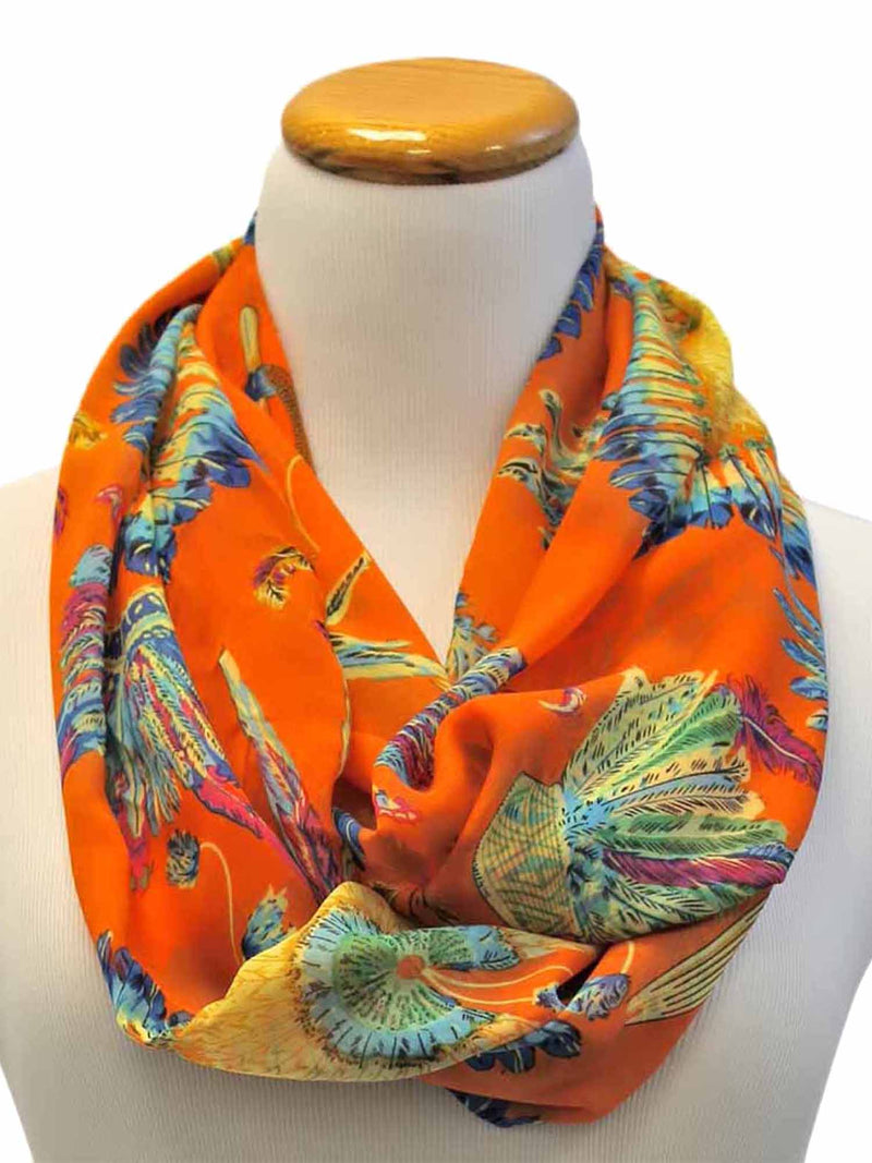 Peacock Print Spring Infinity Scarf