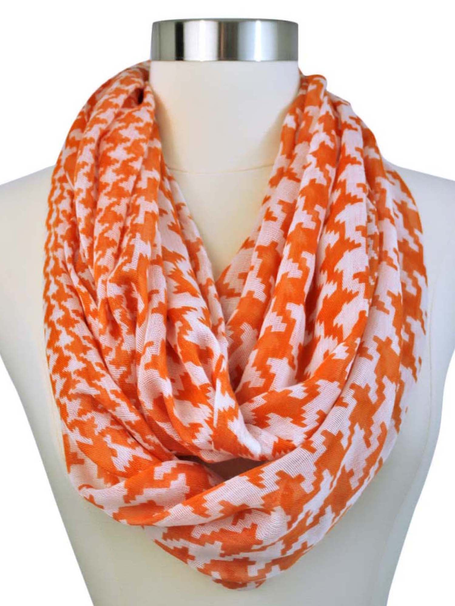 Houndstooth Print Infinity Scarf