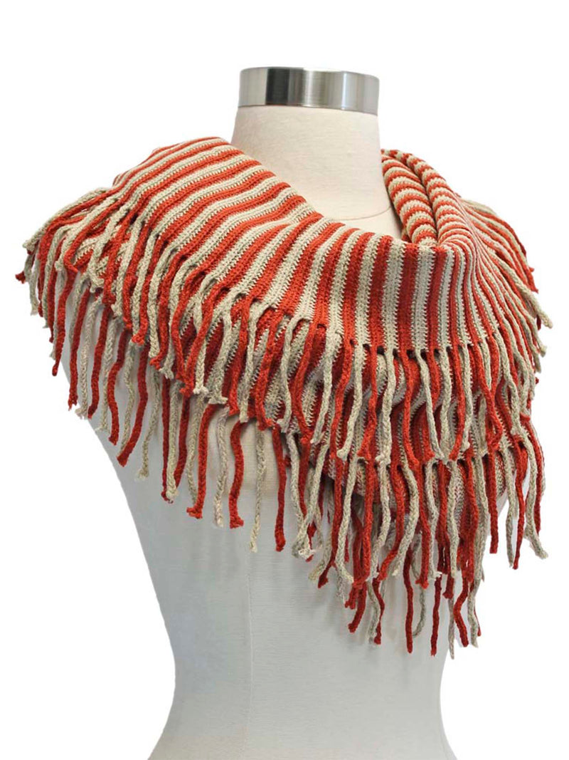 Radiant Knit Winter Infinity Scarf With Fringe