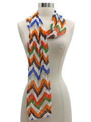 Orange White Blue Brown Zigzag Stripe Scarf