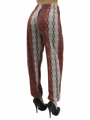 Two-Tone Print Womens Harem Joggers