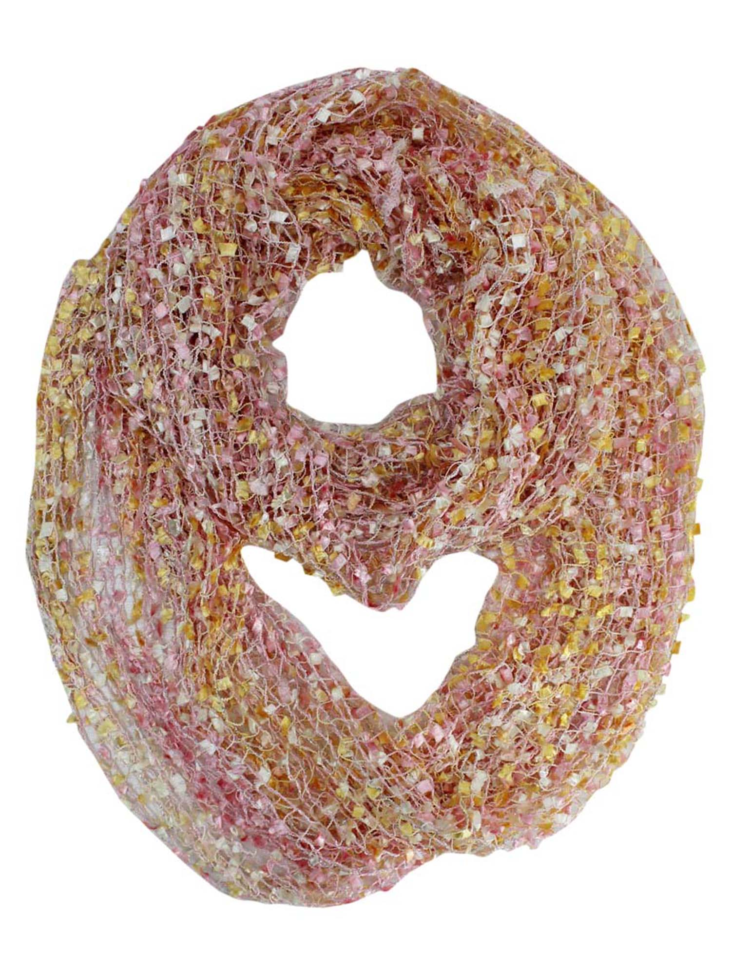 Peach Multicolor Mesh Knit Loop Scarf
