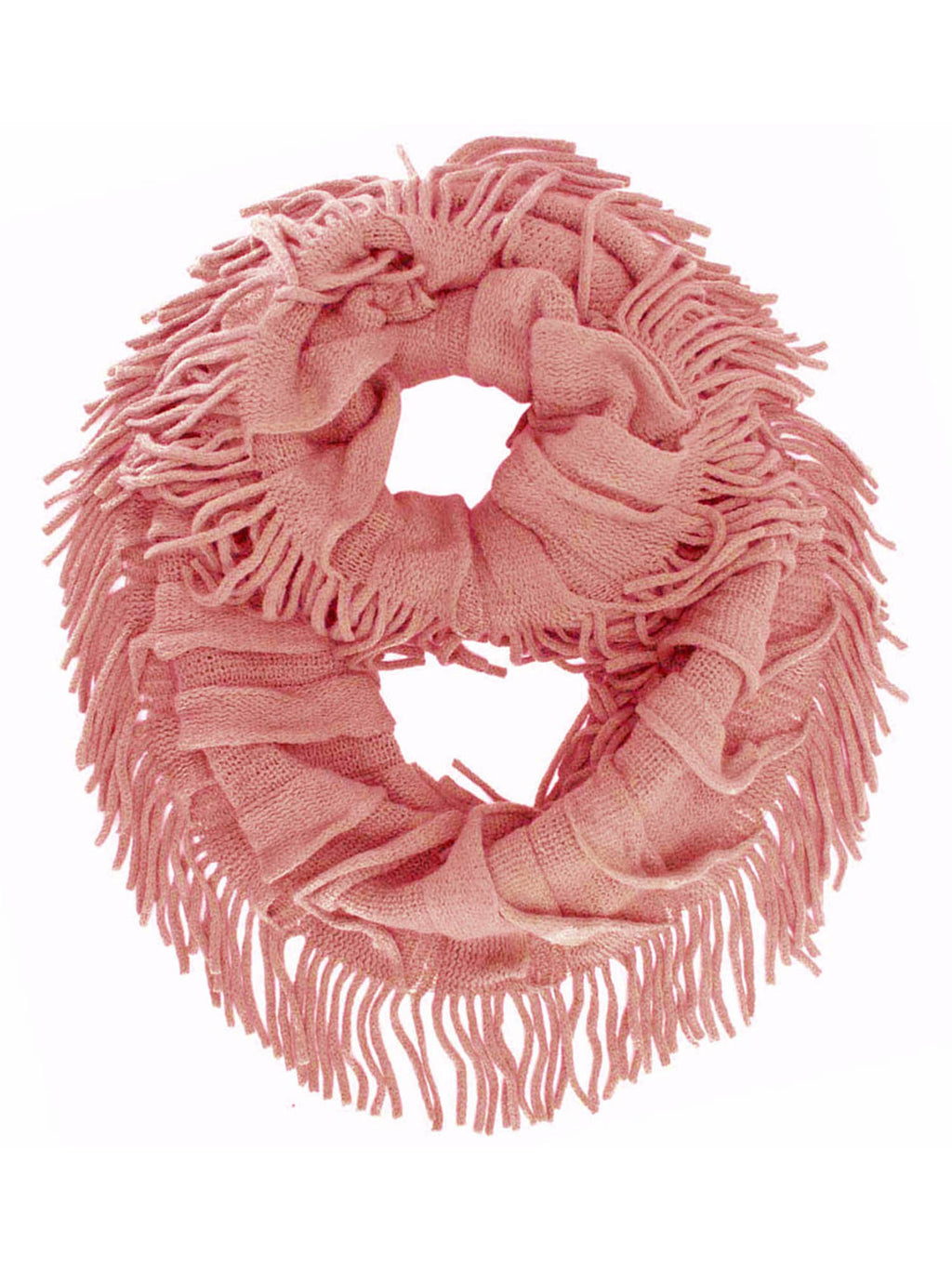 Soft Knit Ruffle Loop Scarf With Fringe