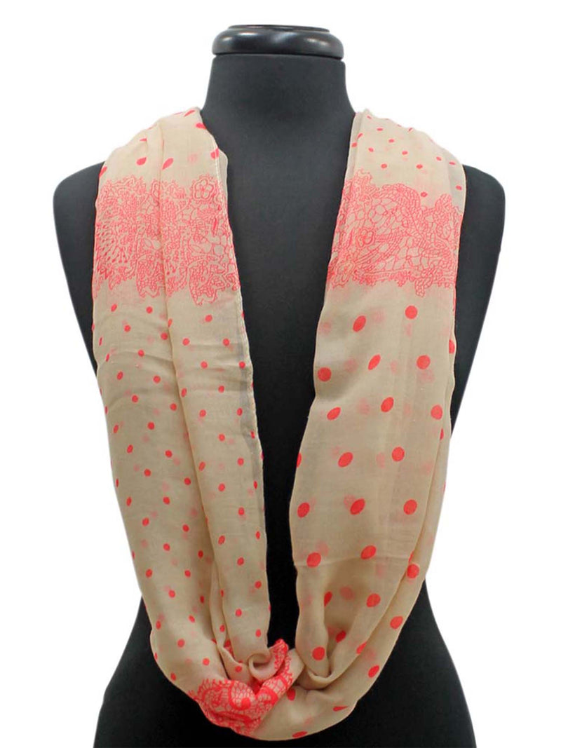 Two-Tone Polka Dot Lightweight Circle Infinity Scarf
