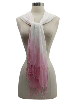 Ombre Long Scarf Wrap With Fringe
