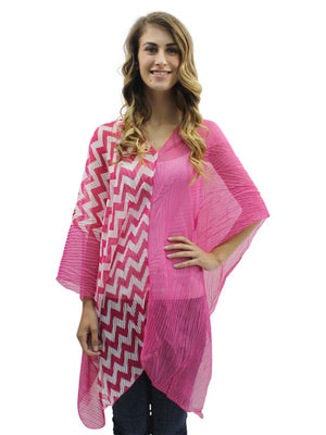Chevron Stripe Sheer Poncho