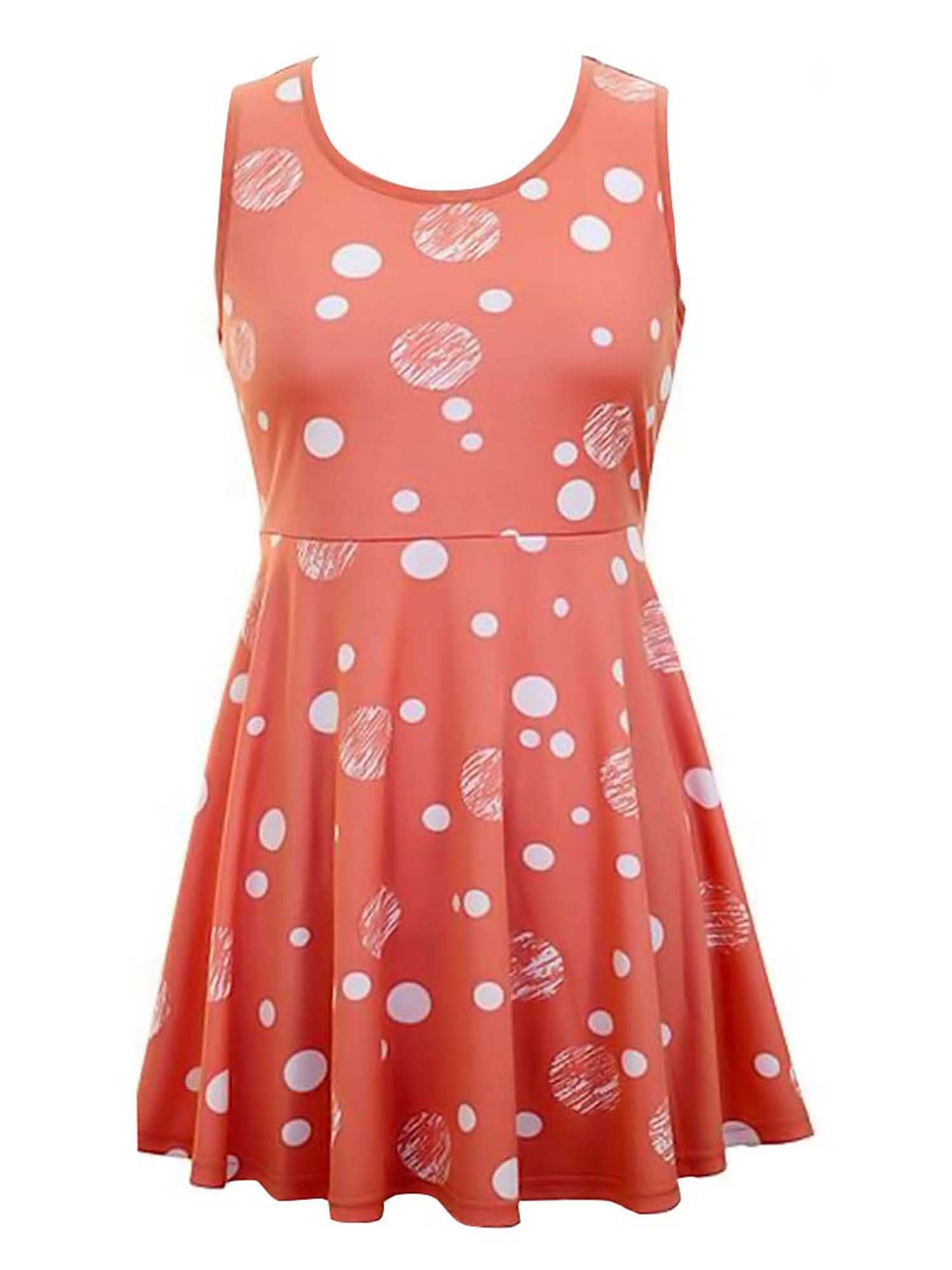 Sleeveless Polka Dot Skater Dress With Empire Waist