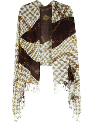 Brown Houndstooth Shawl Wrap With Chain Print