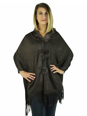 Brown Lightweight Knit Shawl With Faux Fur Collar