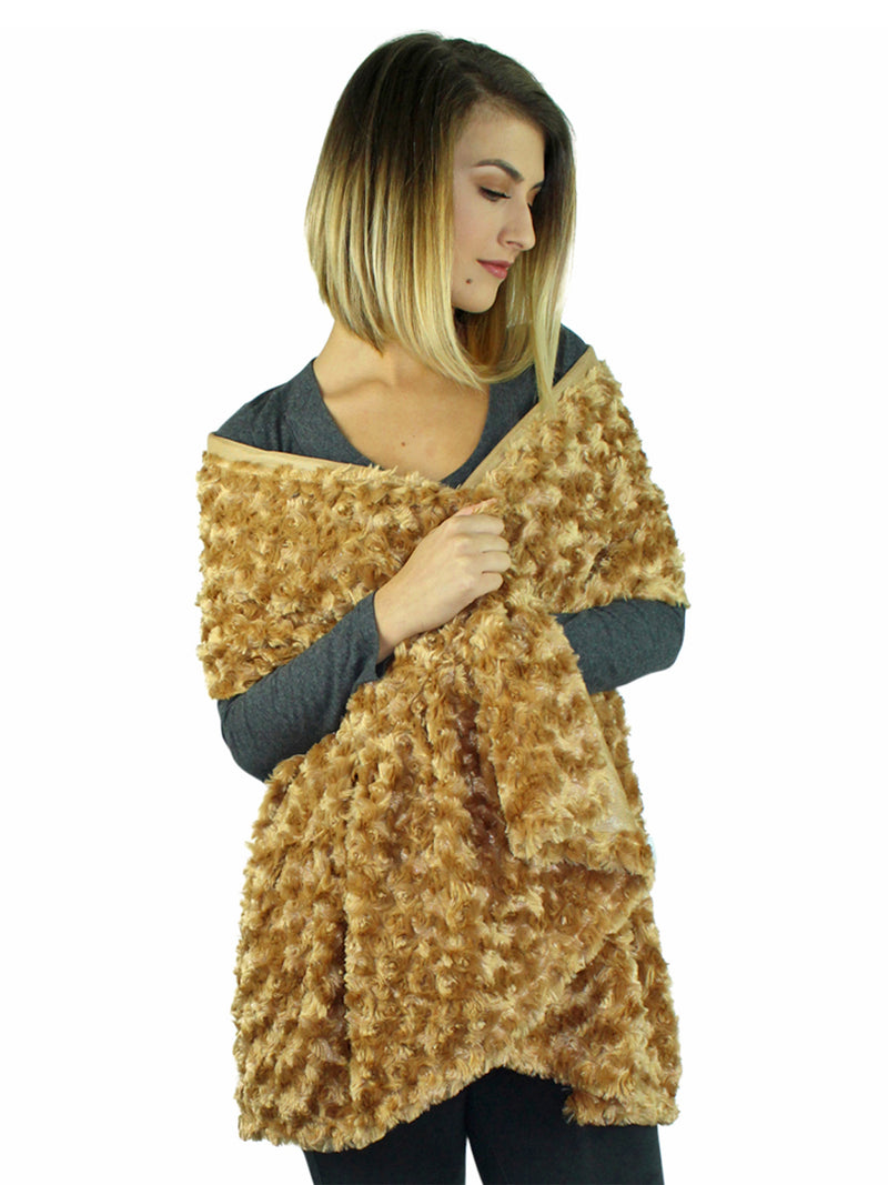 Ultra Plush & Thick Camel Faux Fur Shawl