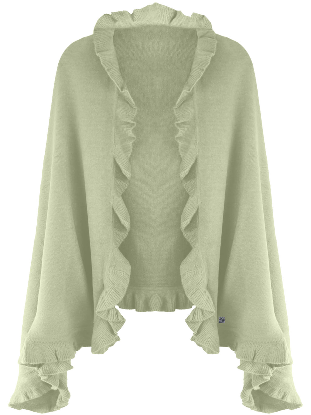 Knit Poncho Shawl With Ruffled Edge