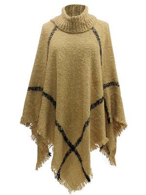 Beige & Black Ultra Soft Turtleneck Poncho Shawl