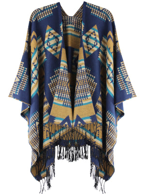 Elegant Native Print Fringed Shawl Wrap