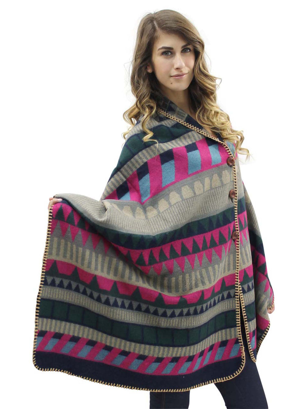 Colorful Pattern Poncho Blanket Scarf Wrap