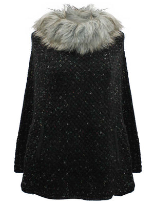 Knit Poncho With Faux Fur Neckline