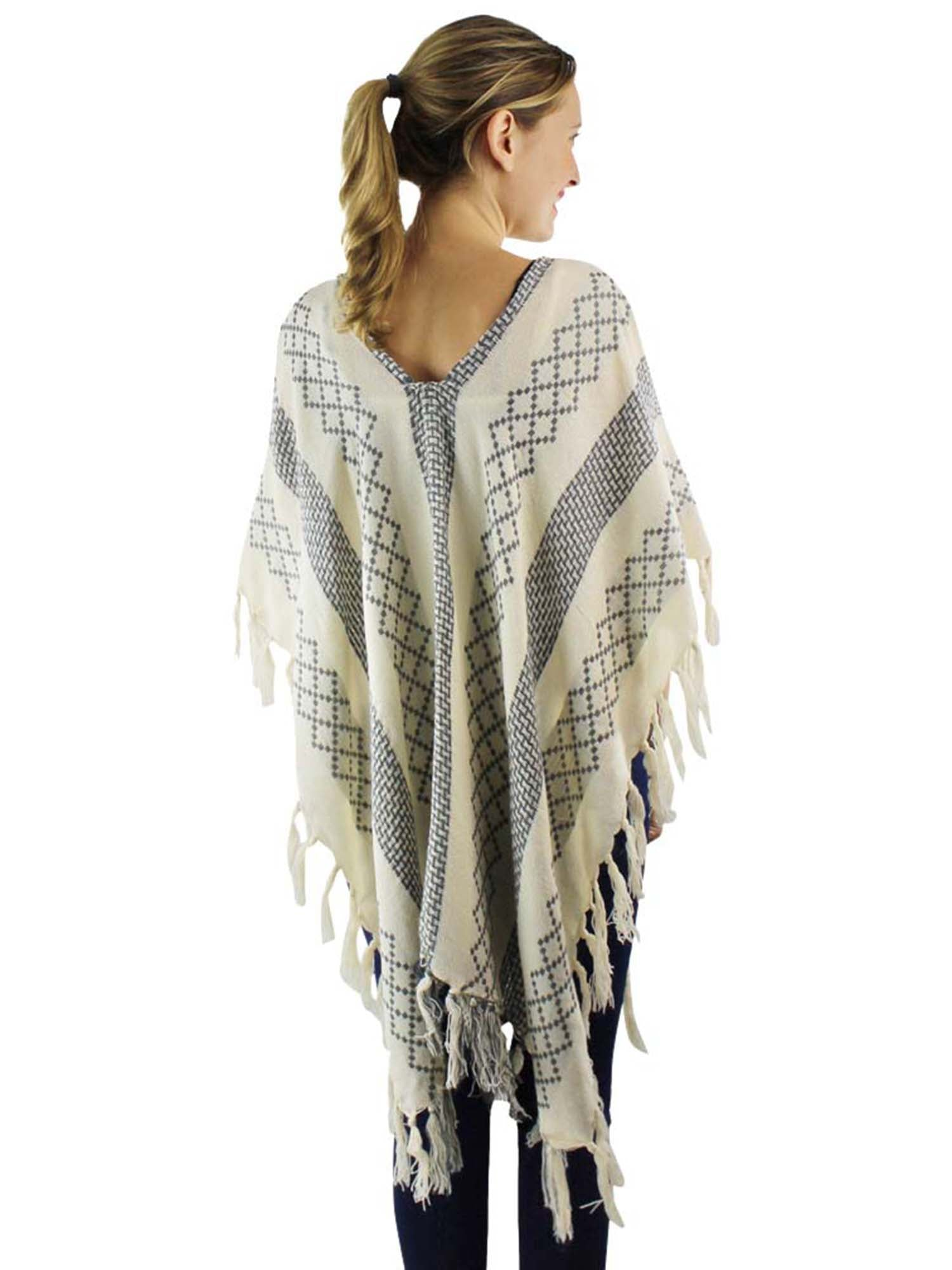 Mixed Pattern Knit Poncho With Tassel Fringe