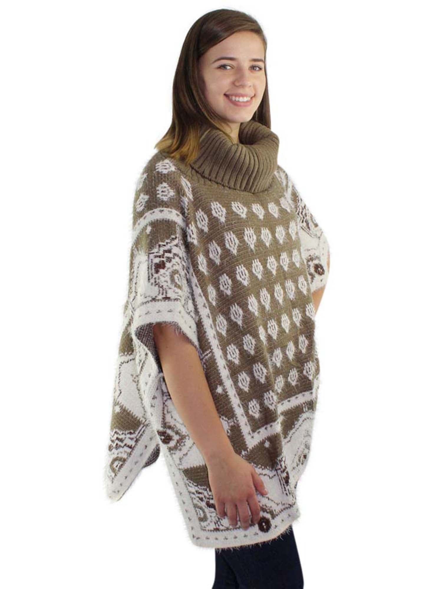 Mixed Pattern Fuzzy Knit Turtleneck Poncho