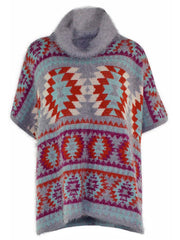 Geo Pattern Turtleneck Poncho