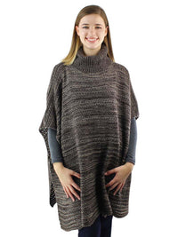 Two-Tone Knit Turtleneck Poncho