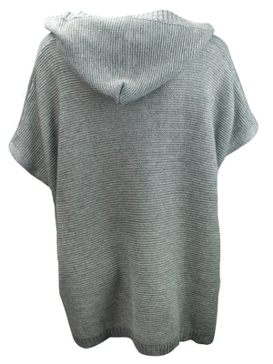 Gray Knit Poncho Style Lace-Up Sweater With Hood