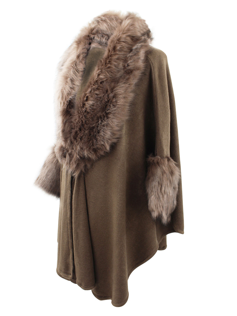 Taupe Brown Faux Fur Cape Shawl