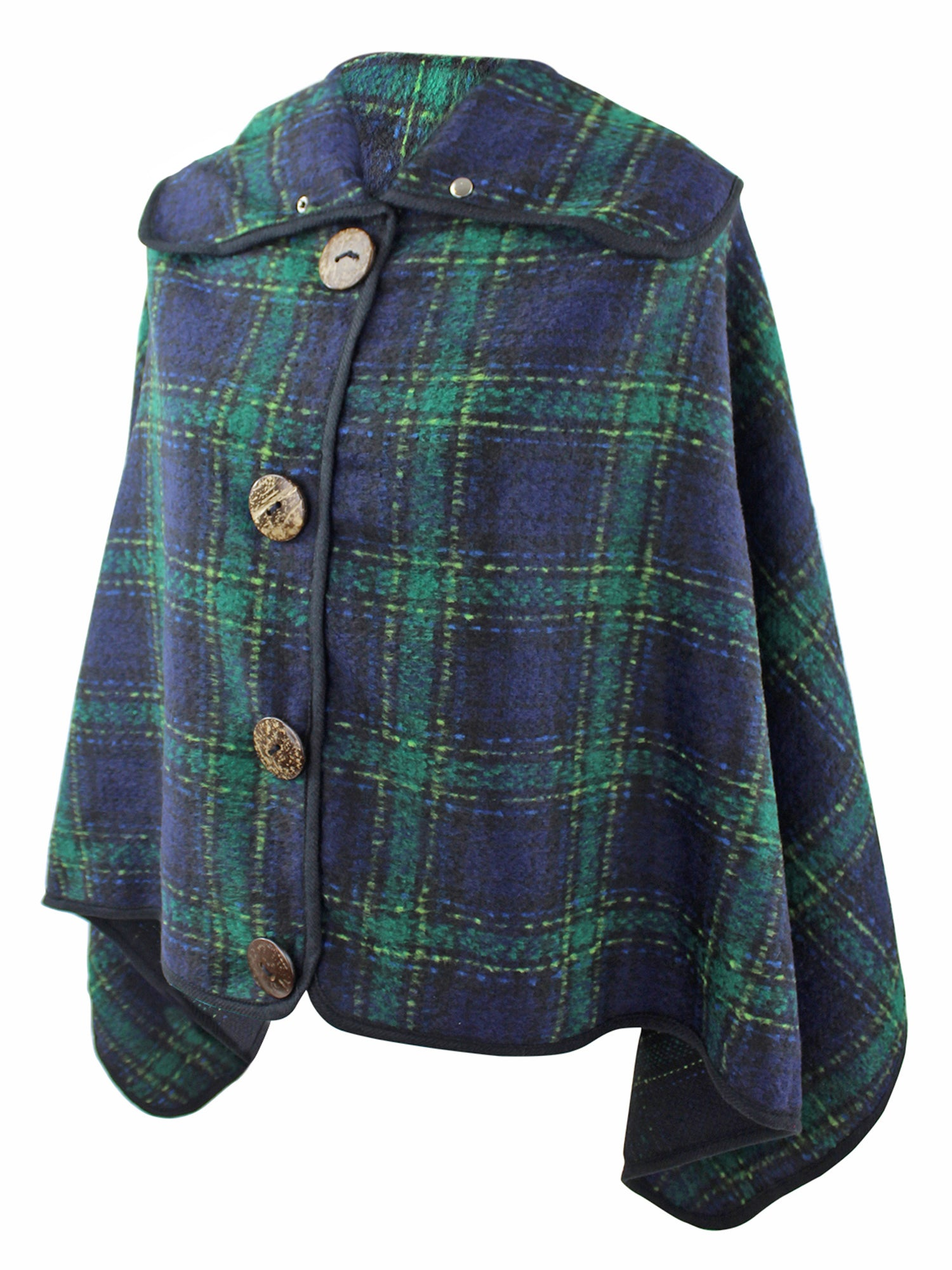 Green & Navy Blue Plaid Poncho With Button Trim